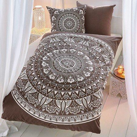 Bettwäsche Mandala Taupe/Weiß