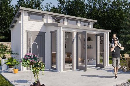 Carlsson Gartenhaus Lausitz-40 ISO mit Anbau ohne Imprägnierung