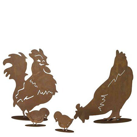 SIENA GARDEN Hühnerfamilie 4-teilig: Hahn,Henne, zwei Küken Metall mit Edelrost