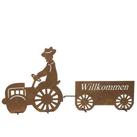 SIENA GARDEN Willkommensschild Traktor Metall mit Edelrost, H43cm