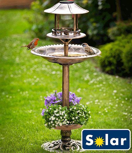 Solar-Vogelbad mit Pflanzschale bronze,1 Stück